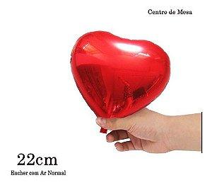 BALAO METALIZADO CORACAO VERMELHO 22CM C/10UN
