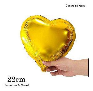 BALAO METALIZADO CORACAO DOURADO 22CM C/10UN