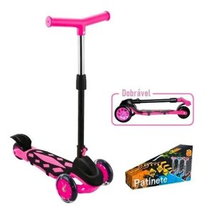 Patinete Infantil Scooter Power 3 Rodas Pink Freio Dobravel