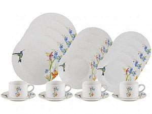Aparelho de Jantar e Chá 20 Peças Lyor Porcelana Beija Flor