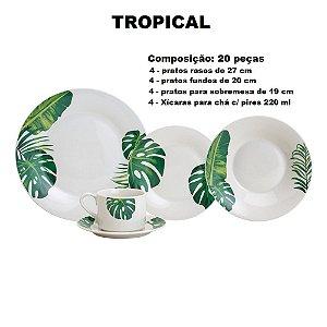 Aparelho de Jantar e Chá 20 Peças Lyor Porcelana Tropical