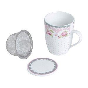 Caneca de chá Infusora em Porcelana e Tampa 310ml Rosa Lyor
