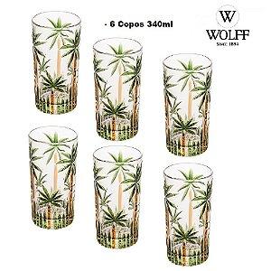 Jogo com 6 Copos de Cristal de Chumbo Palm Tree 330ml Wolff
