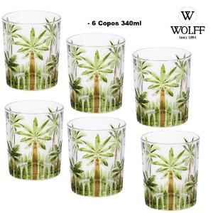 Jogo com 6 Copos de Cristal de Chumbo Palm Tree 340ml Wolff