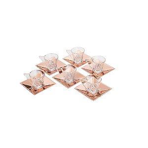 Jogo de 6 Xícaras de Vidro p/ Chá C/Pires Veneza Rose 150ml