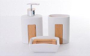 Kit Banheiro Toalete Lavabo Cerâmica Sabonete Escova Wincy
