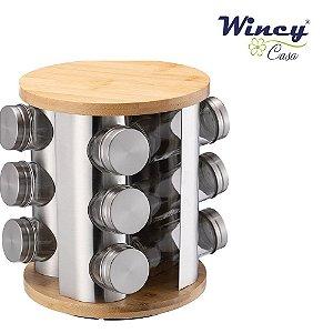 Porta Tempero ou Condimento Giratório em Inox 13 peças Wincy