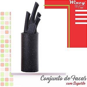 Conjunto com 5 Facas Inox Suporte Kit Faqueiro Preto Wincy