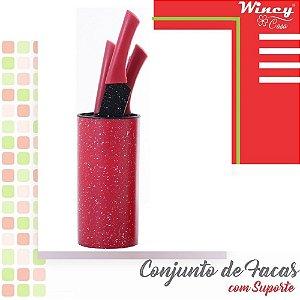 Conjunto com 5 Facas Inox Suporte Kit Faqueiro Vermelho Wincy