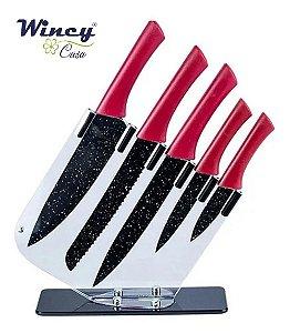 Faqueiro 6 Peças Conjunto de 5 Facas 1Suporte Vermelho Wincy
