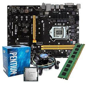 KIT MINERAÇÃO - Placa Mãe Biostar Tb250-btc LGA 1151 + Processador Intel Pentium G4560 + Memória Kingston 16GB