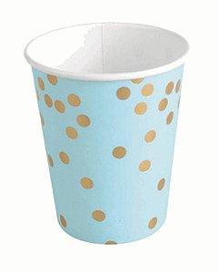 Copo Papel 266ml Azul com Confetes Dourados