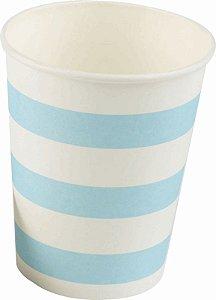 Copo Papel 266ml Branco com Listras  Azuis