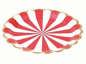 Prato Papel Listrado Circular Vermelho com  Dourado