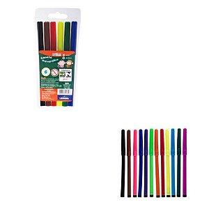 Caneta Hidrográfica Estojo - 6 cores