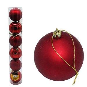 Kit Bolas de Natal Vermelha Lisa/Fosca - 06 und