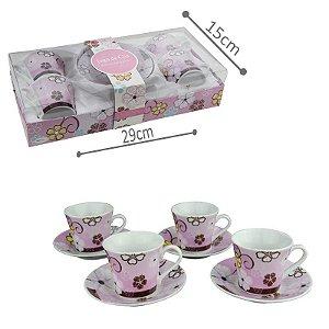 Jogo de Xícara de Chá Porcelana Flor