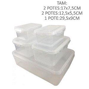 Kit Potes Transparente - 5 pçs