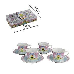 Jogo de Xícara Porcelana - Cupcake 4 und c/ Pires