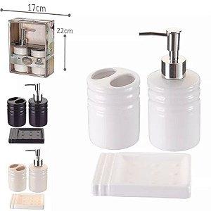 Kit p/ Banheiro Porcelana - Bege