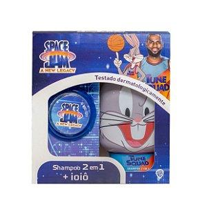 Kit Shampoo infantil 2 em 1 250 ml Perna Longa + Ioiô Space Jam 2