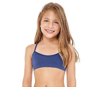 Top Infantil Sem Costura Azul