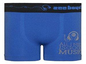 Cueca Boxer Infantil Music Sem Costura Azul