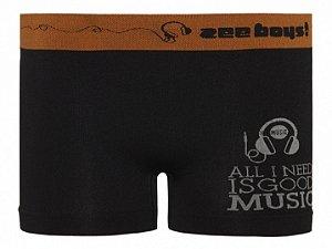 Cueca Boxer Infantil Music Sem Costura Preta