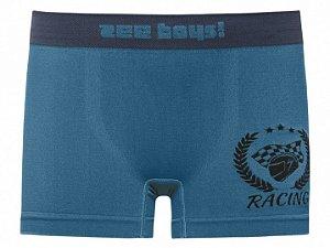 Cueca Boxer Infantil Racing Sem Costura Azul Esverdeado