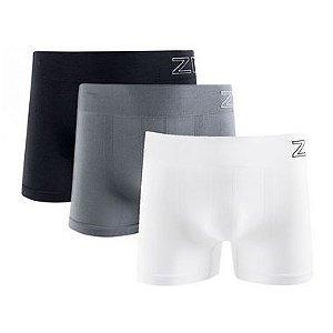 KIT 3 Cuecas Boxer Sem Costura Preto + Cinza + Branco