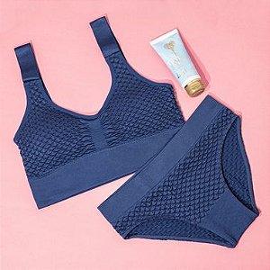 Conjunto Top Bojo Removível e Calcinha Comfort Jacquard Sem Costura Cobalto + Hidratante para Mãos Lady's Secret