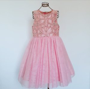 Vestido Festa Rosa c/Perolas e tule