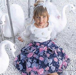 Vestido Tricoline e Malha Cisne