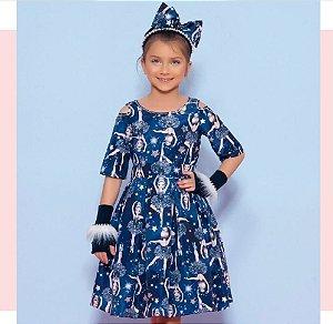 Vestido Tricoline Bailarinas Azul