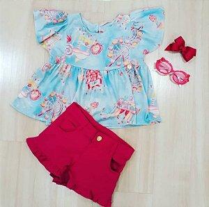 Conjunto Bata Estampa Parque c/ Shorts Pink