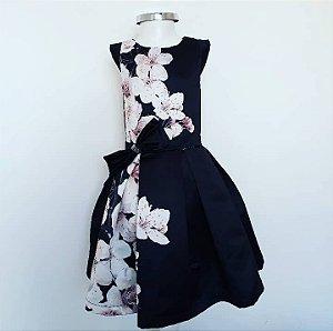 Vestido Festa Preto C/ Detalhes Flores Rosa c/Strass
