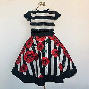 Vestido Festa Preto C/Pelinho nas Mangas e Rosas Vermelhas