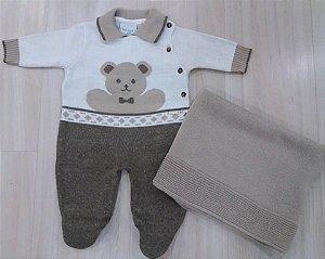 kit Maternidade Tricô ( Macacão Urso + Manta Bege)