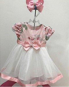 Vestido Festa Bebê Rosa e Saia Tule Branco