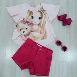 Conjunto Blusa MC Cropped Cotton Boneca e urso / Shorts Sarja Pink