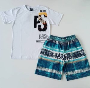 Conjunto Camiseta MC PS/ Bermuda Moletom Estampada