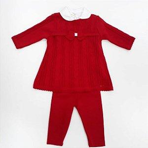 Conjunto Body ML + Vestido com Calça Tricô Vermelho