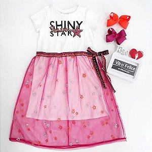 Vestido Canelado Shiny Com tule Pink