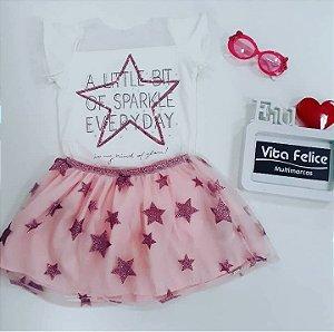 Conjunto Blusa Estrela com Saia Tule Rosa Estrelas