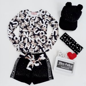 Conjunto Blusa ML Light Ursinhos com Shorts Moletom Cristais Cinto Ursos