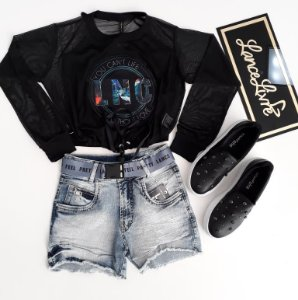 Conjunto Blusa ML Tule LNC C/ Shorts Jeans Cinto