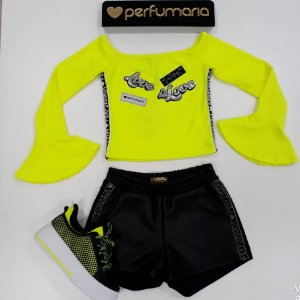 Blusa ML Canelada manga Flare Patches Neon