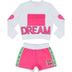 Conjunto Blusa ML Dream / Shorts Rosa Neon