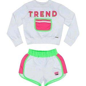 Conjunto Moletom Trend Neon/shorts