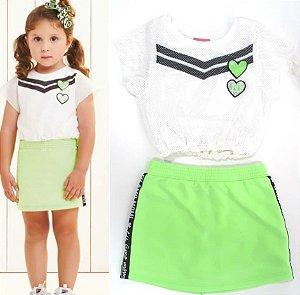 Cj Blusa Sobreposição Tela com Saia /Shorts embaixo verde neon
